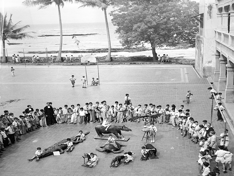 A large group of young boys and 3 Christian Brothers stand in a semi-circle around 9 boys sitting on or next to stuffed wild animals such as a crocodile and a tortoise on the outside plaza of the school.