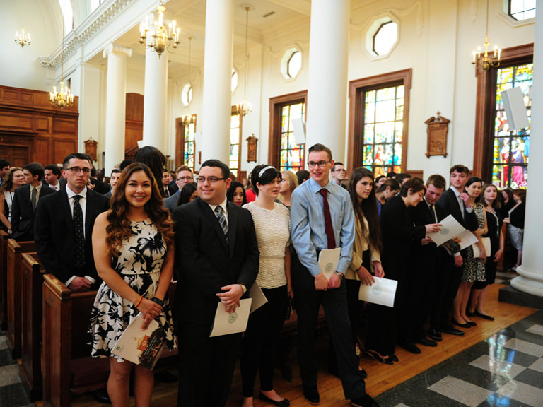 students attending spring honors