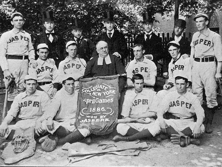 Brother Jasper surrounded by Jaspers baseball team in 1886