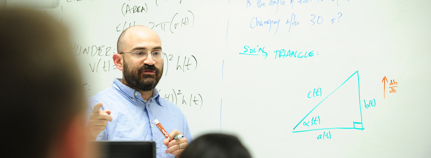 Professor gives lesson at board