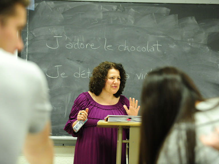 French teacher in class