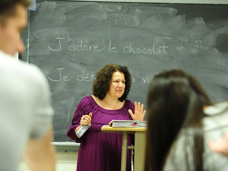 French teacher in class