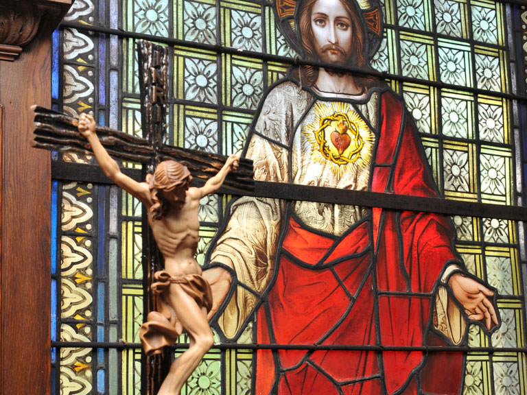 Stained glass depiction of Jesus.