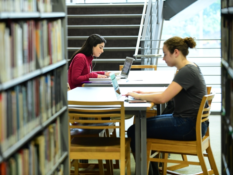 Students studying in library.