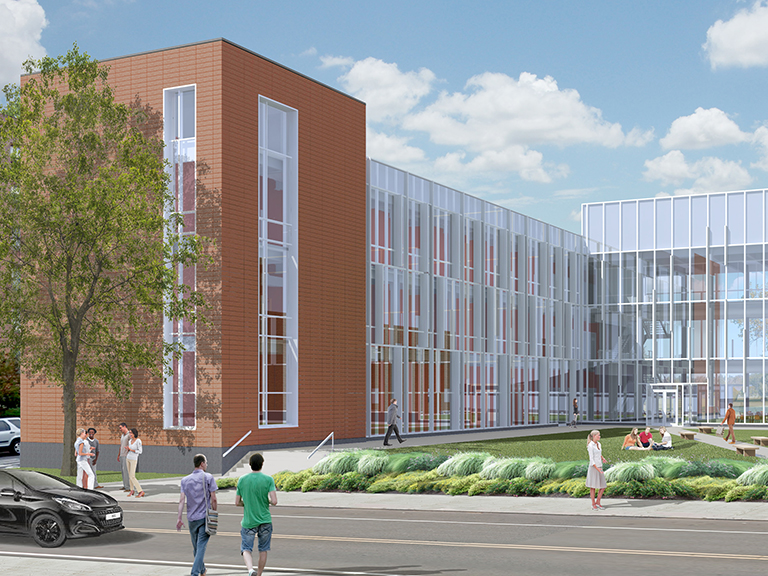 an image of a rendering of the higgins engineering and science center