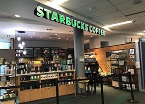 Image of Starbucks kiosk in Kelly Commons.