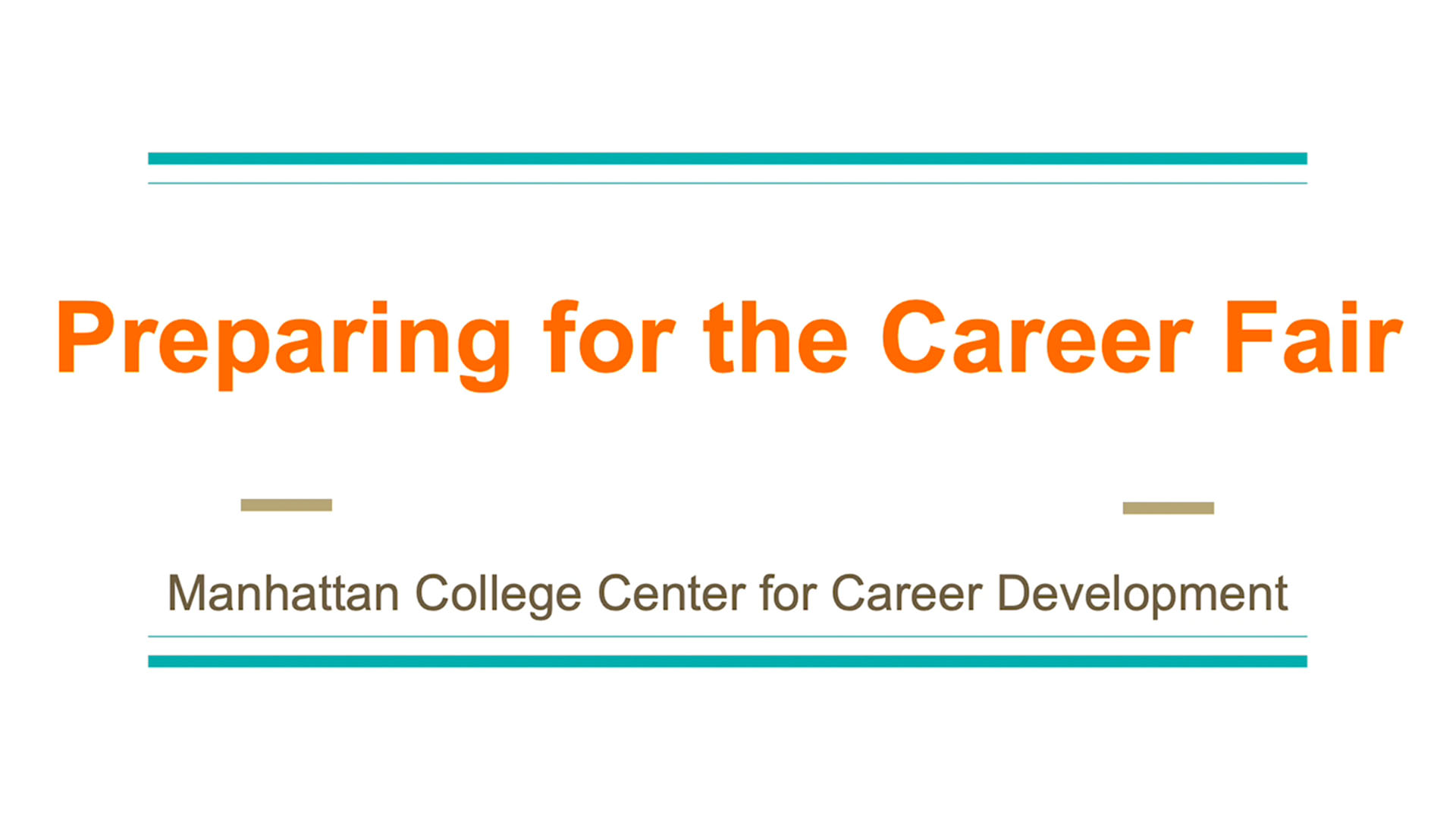 Career Fair Prep, Manhattan College Center for Career Development