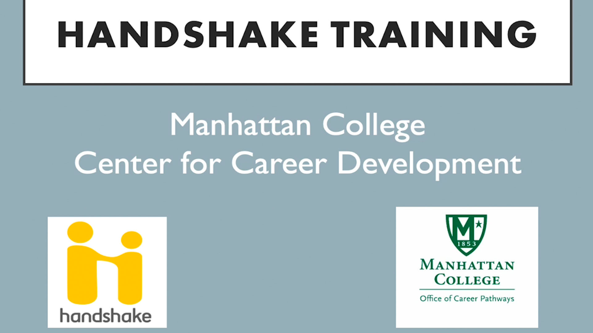Handshake Training, Manhattan College Center for Career Development
