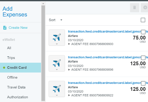 "Screen shot of ""Add Expenses"" tab selected and visible on screen. ""Credit Card"" option is selected with list of expenses in the right hand column with image of air travel, names of each transaction and prices in dollars."
