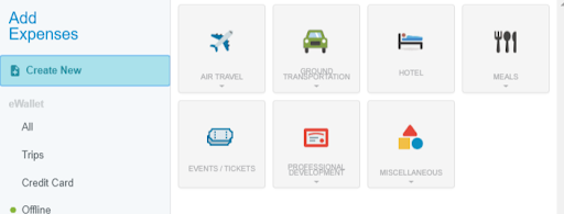 "Screen shot of ""Add Expenses"" tab selected and visible on screen. Underneath ""Add Expenses"" it states; ""Create New"" selected with the following options as titles with corresponding graphics for each: ""Air Travel, Ground Transportation, Hotel, Meals, Events/Tickets, Professional Development, and Miscellanous."" On left hand column underneath Titles, ""Add Expenses and Create New"" is another section titled, ""eWallet"" with the following options; ""All, Trips, and Credit Card. Underneath these titles is an green icon with ""Offline"" next to it."
