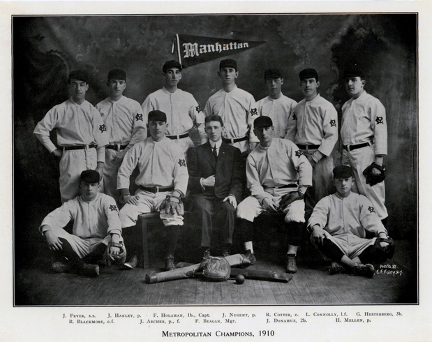 Photograph of 1910 Manhattan College Baseball Team.