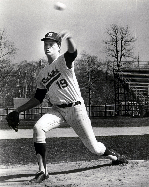 Photograph of Bob Chlupsa pitching for Manhattan College in 1970.