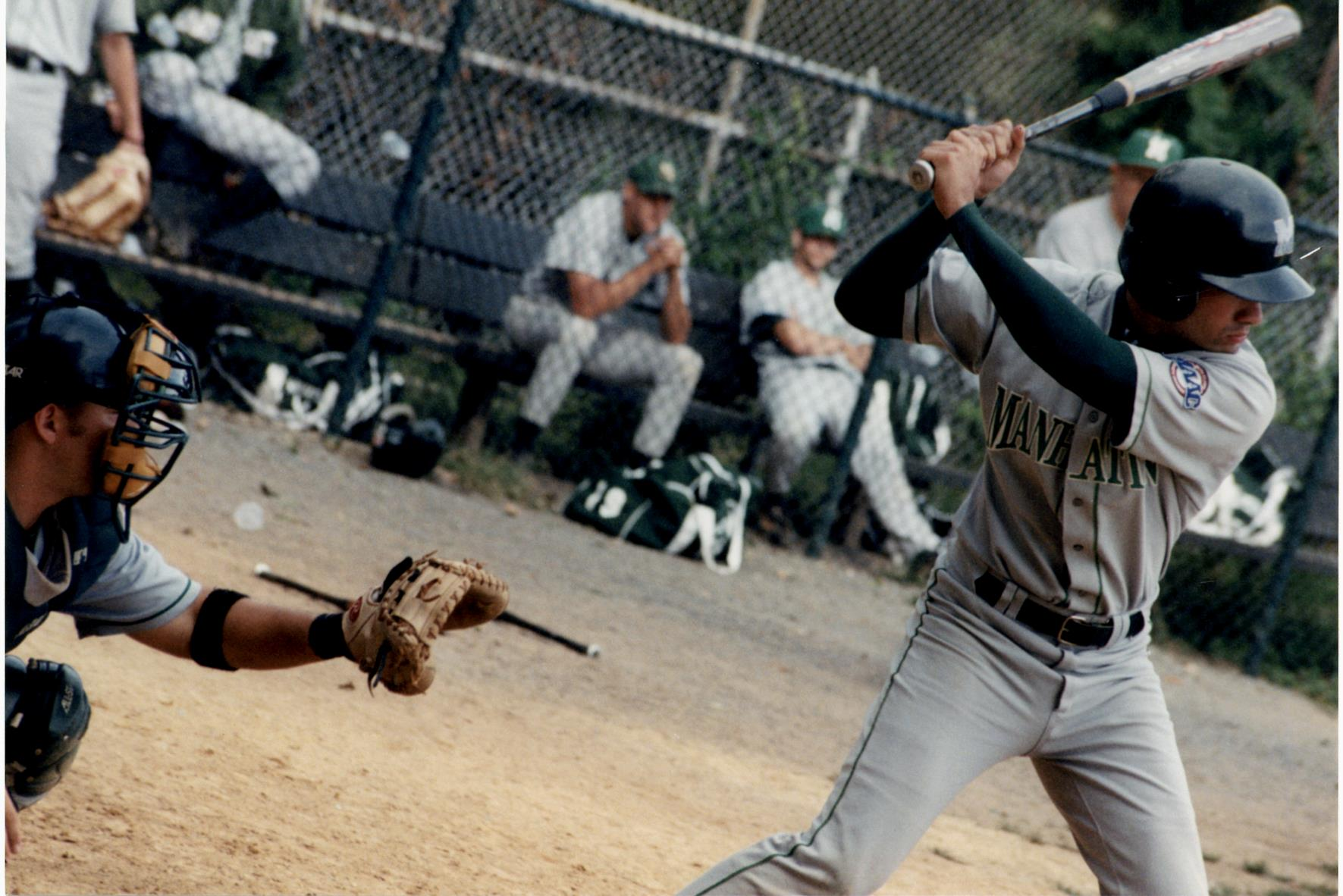 Photograph of Manhattan College Baseball player at bat.