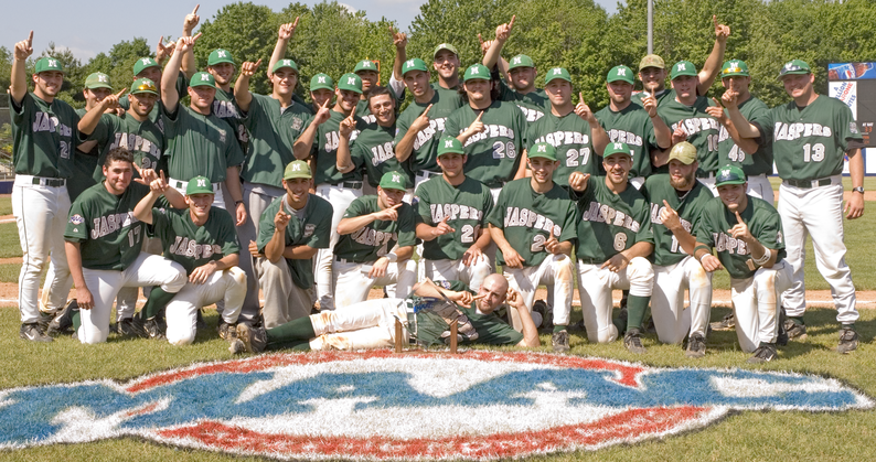 Photograph of 2006 Manhattan College MAAC Championship game celebration on the field.