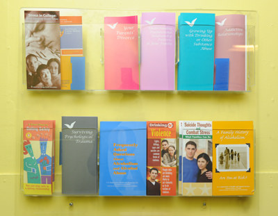 A display of health and wellness pamphlets