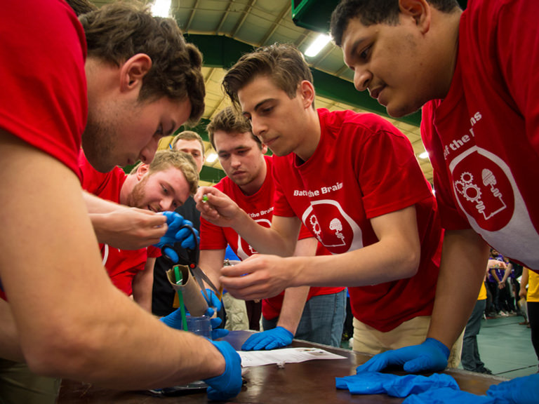 Mechanical engineers participate in the annual Battle of the Brains competition.