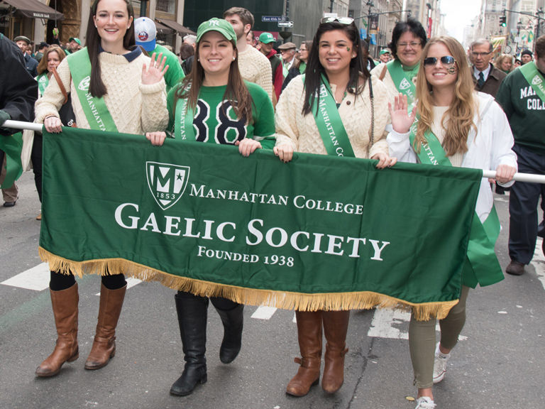 Gaelic Society members march in the St. Patrick's Day Parade.