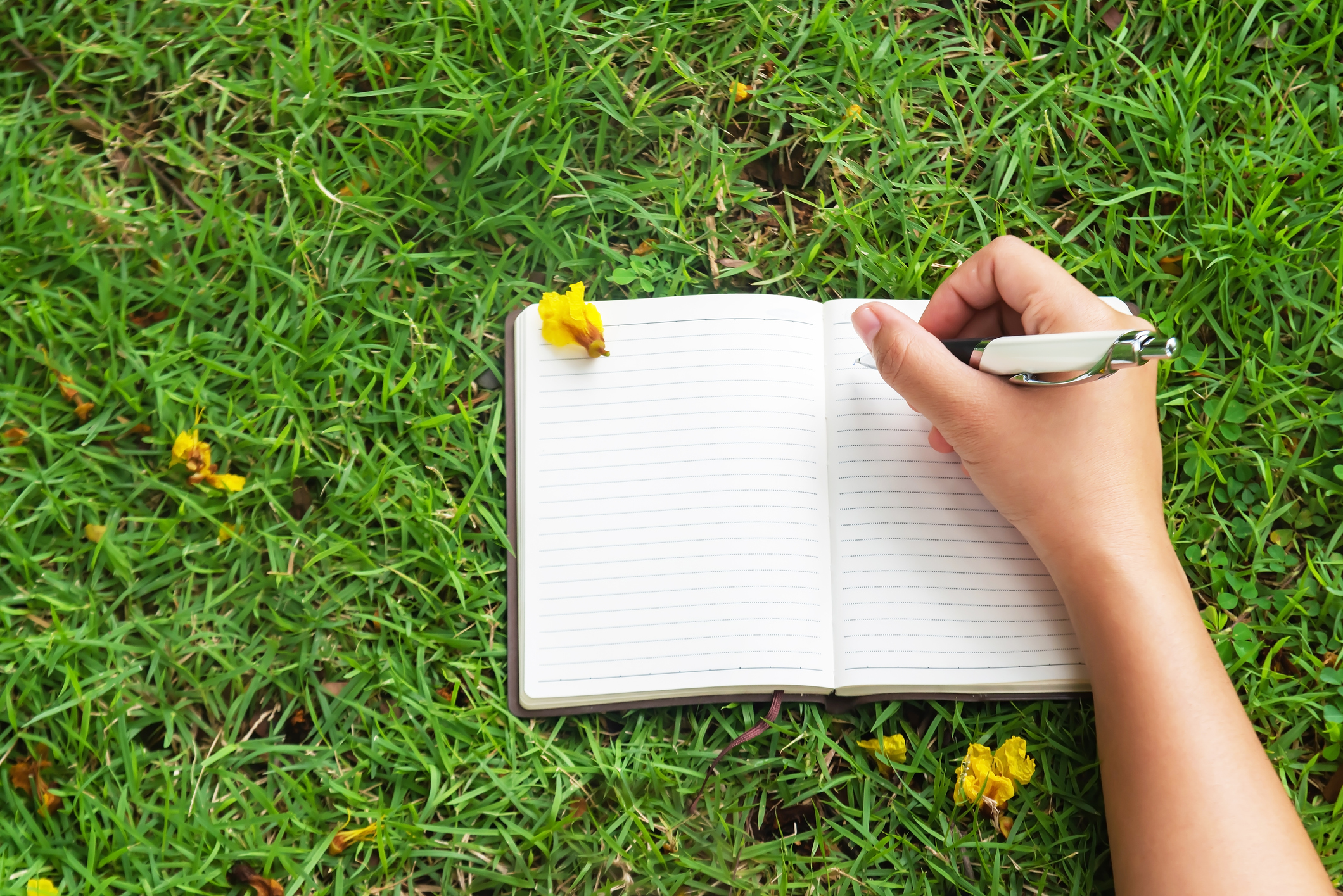 Photograph of right hand writing on white paper notebook while laying on grass.