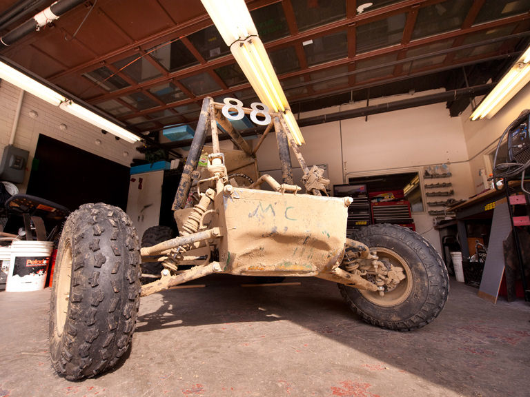 An off-road vehicle designed and built by College students.