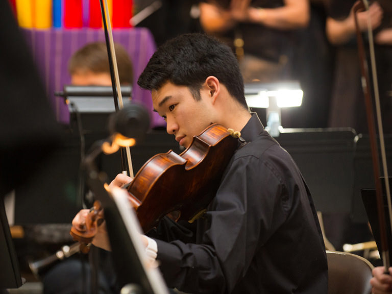 Musician playing the violin.