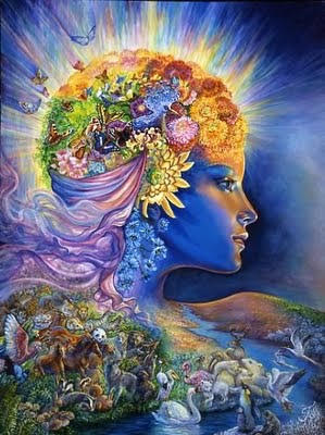 Art Work depicting a woman as Mother Nature with all elements of nature drawn into the human figure.
