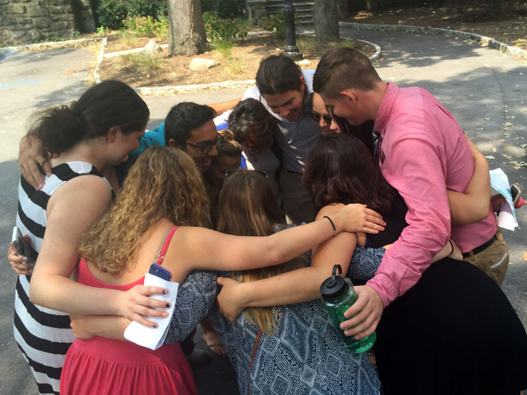 Students connect with one another on a spiritual retreat.
