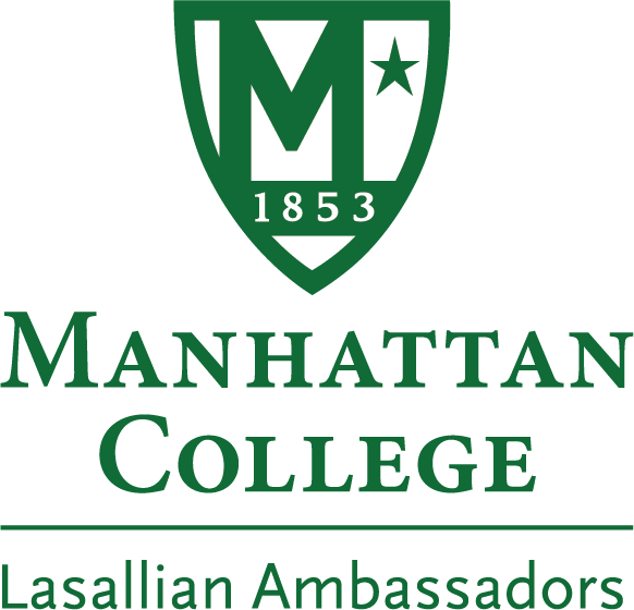 Logo that reads: Manhattan College: Lasallian Ambassadors in green text on a white background.