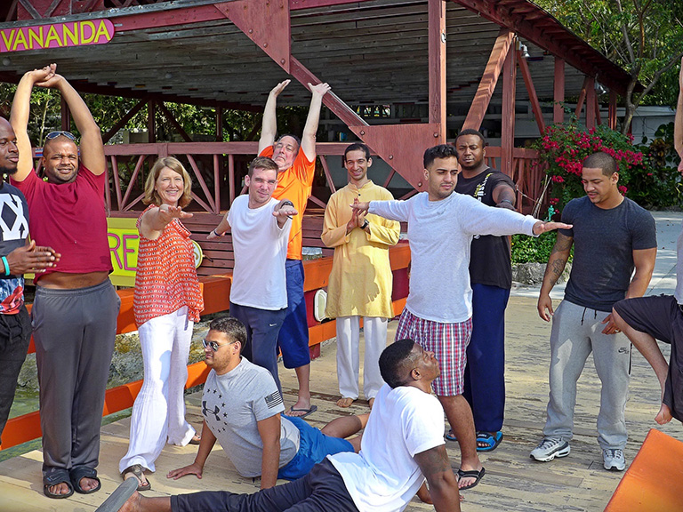Veterans doing yoga in Paradise Island, Bahamas