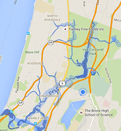 Map of Historical Flow of Tibbetts Brook in the Bronx by: Steve Duncan- Undercity.org