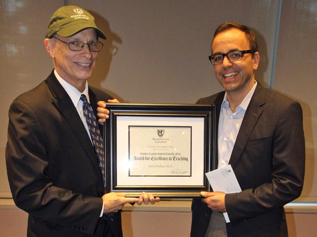 Keith Brower presenting David Bollert with Costello Excellence in Teaching Award