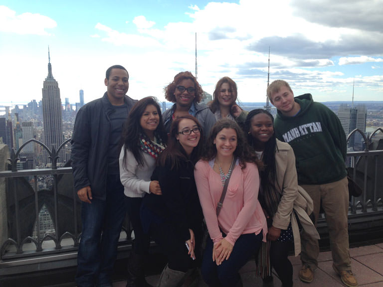 Students at the top of Rockefeller Center