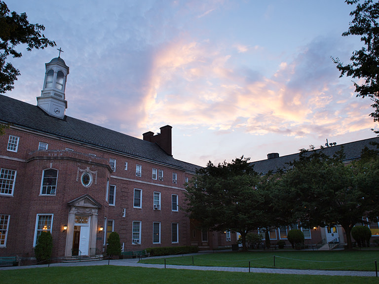 Campus quad at sunset