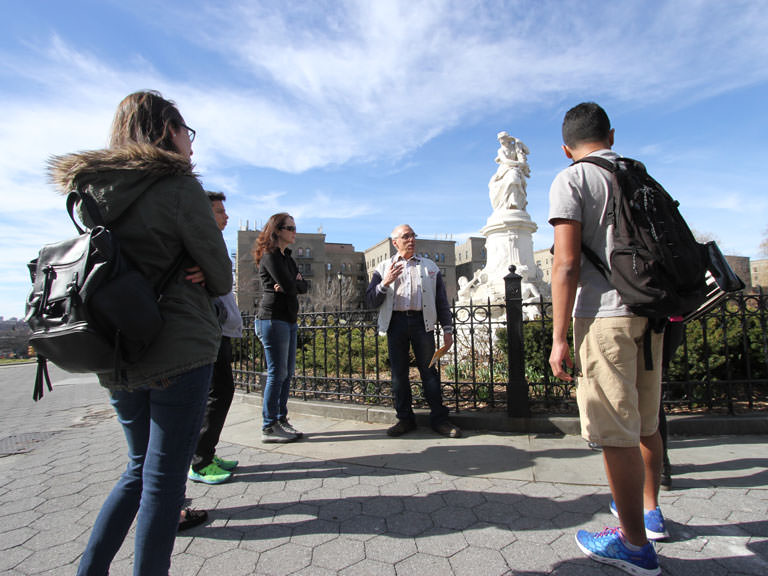 Students on walking tour of Bronx