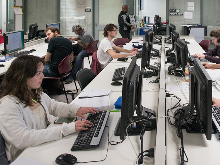 Students in computer science lab