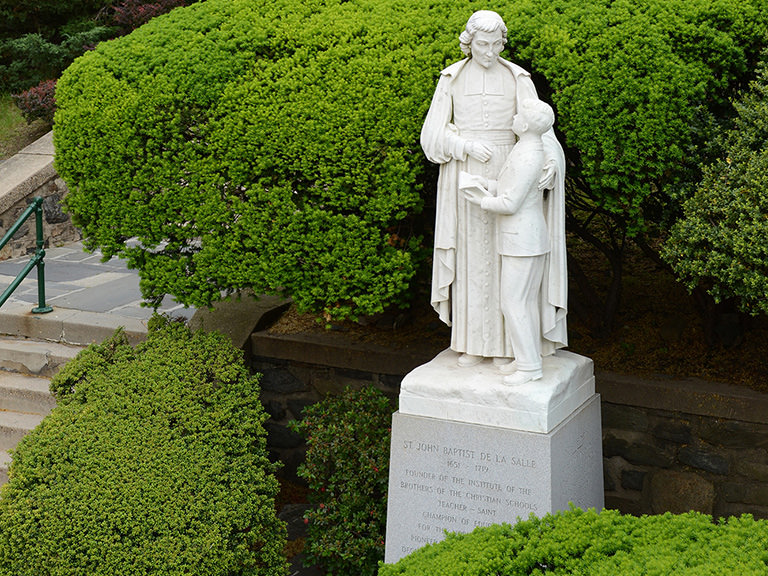 Statue of John Baptist de La Salle on campus
