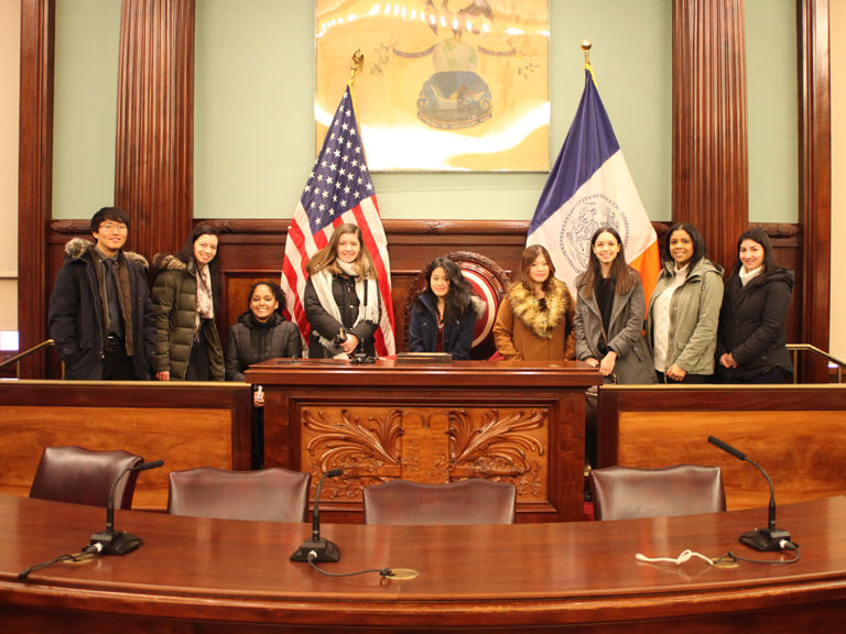 Students in a NYC courtroom