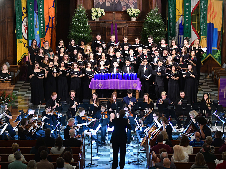 Manhattan College's singers and orchestra