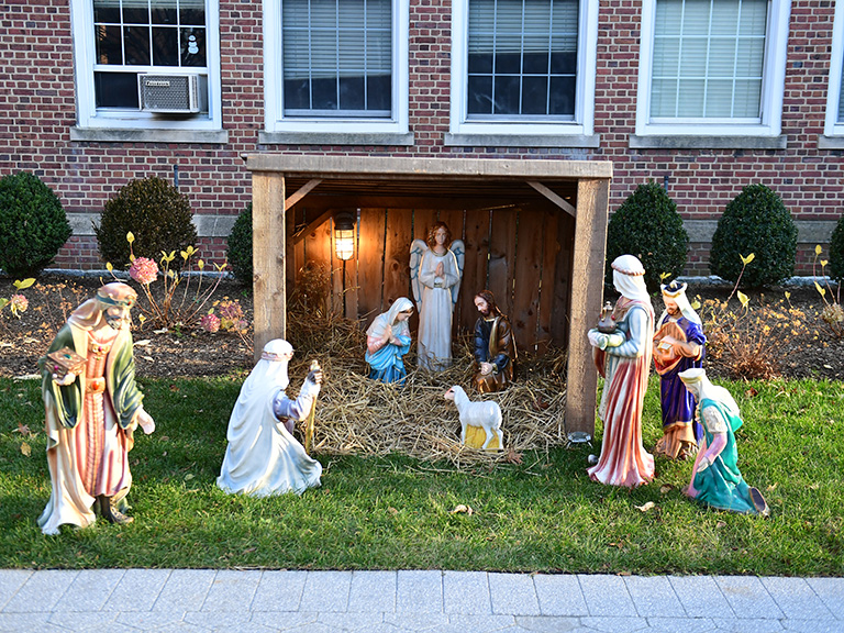 Nativity scene outside Miguel Hall on campus