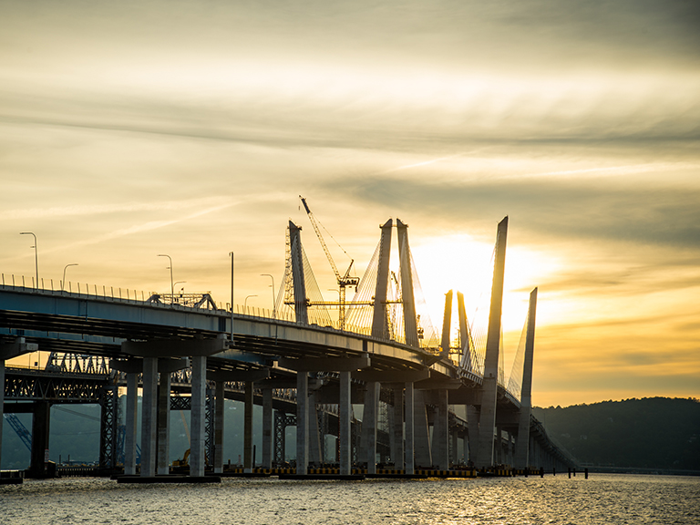 Governor Mario M. Cuomo Bridge at sunset.