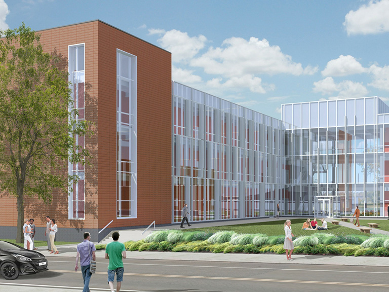 architectural rendering of the new higgins facility
