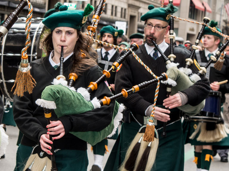 Pipes and drums band at St Patrick's Day parade