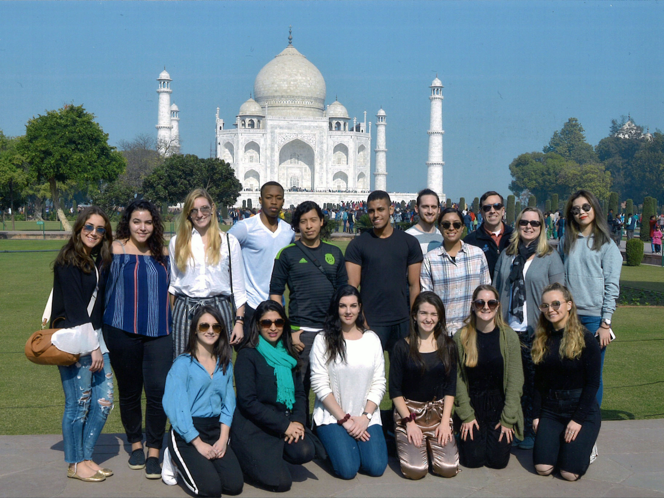 Students and faculty stand in front of the Taj Mahal in Agra, India