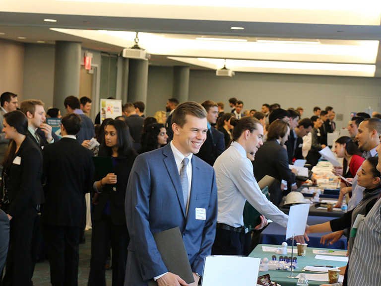 Students at a career day on campus