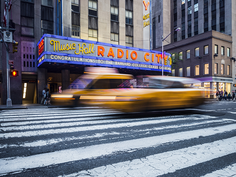 image of radio city on manhattan street