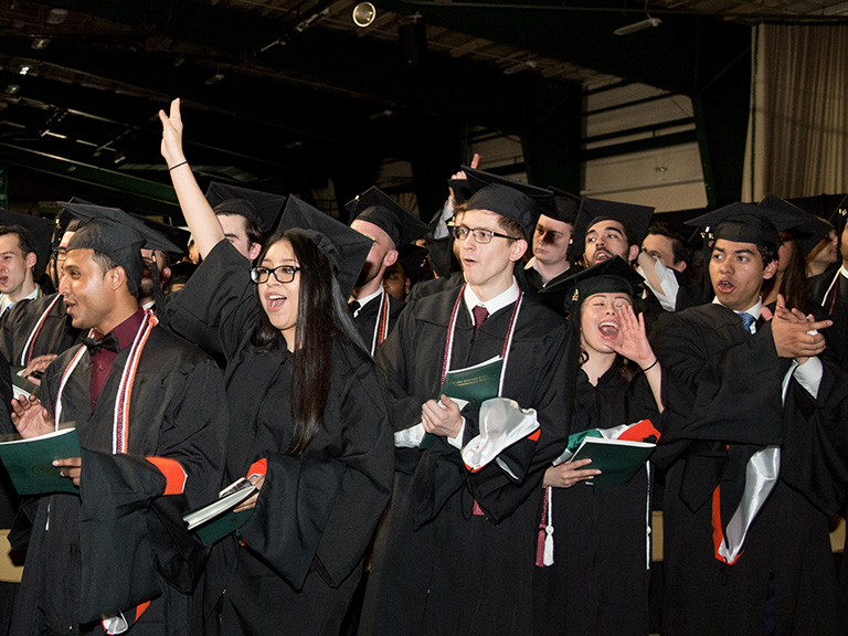 Photo of students at 2017 Commencement