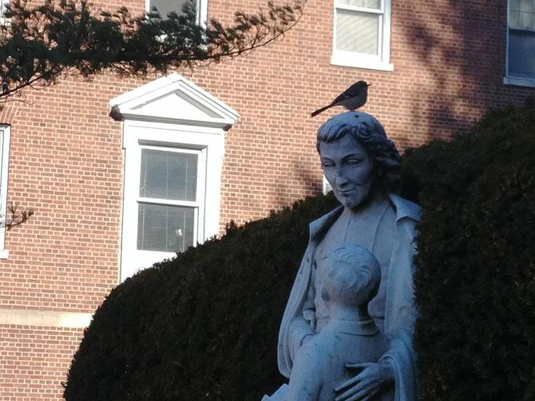 John Baptist de La Salle statue in shadows