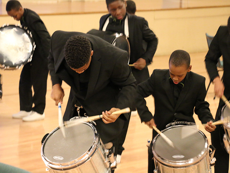 Drumline at the 2017 Black History Month opening dinner