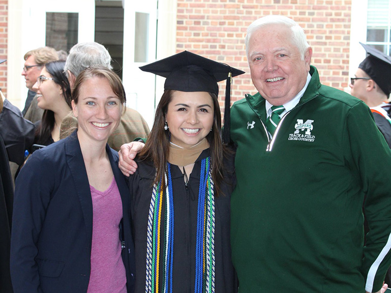 Kerri Gallagher, Samantha Manalastas and John Lovett at 2018 commencement
