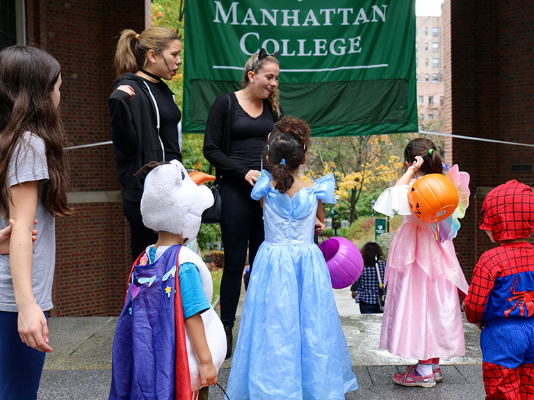 Students and children dressed up for Halloween