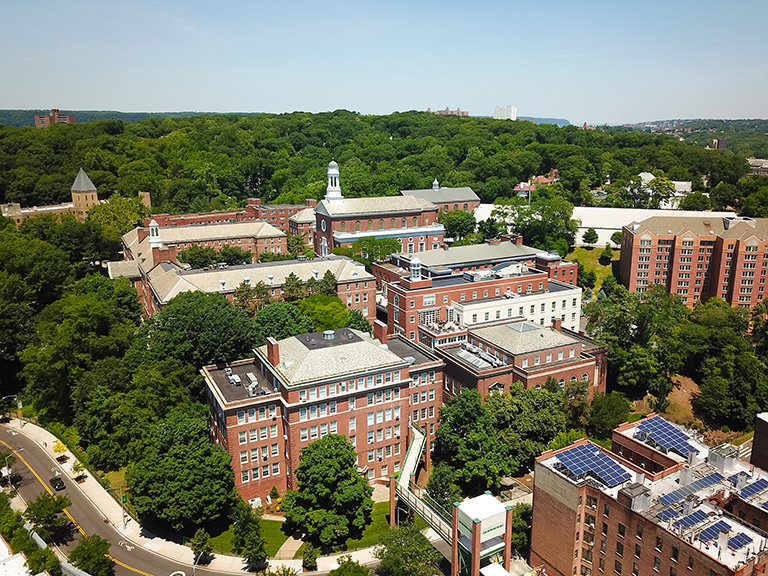 Aerial photo of Manhattan College with surrounding area